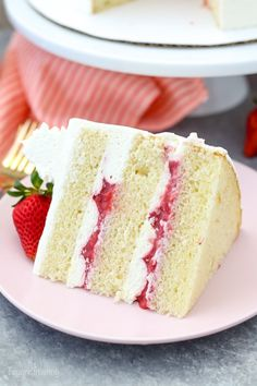 Strawberry Mascarpone Cake is layered with a homemade moist vanilla cake, a fresh strawberry filling and mascarpone whipped cream. It's the perfect combination for a strawberries and cream cake. Strawberry Vanilla Cake, Strawberry Layer Cakes, Blackberry Cake, Moist Vanilla Cake, Strawberry Cake Recipes, Vanilla Cake With Strawberries, Strawberry Filling For Cake, Vanilla Frosting, Three Layer Vanilla Cake Recipe