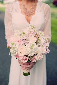 pale pink bouquet // photo by Joyeuse Photography http://ruffledblog.com/bohemian-barn-wedding #flowers #bouquet #bouquets #wedding