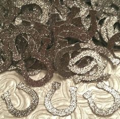 Western Wild West rodeo silver glitter horseshoes confetti die cuts cowboy cowgirl birthday party favor baby shower table decor invitations inserts horse good luck charm