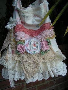 RESERVED Linen Lace Bag pink trim ruffled di TatteredDelicates, $45,00