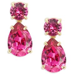 Kate Spade New York Fancy That Swarovski Crystal Drop Earrings ($68) ❤ liked on Polyvore featuring jewelry, earrings, orecchini, pink, kate spade, drop earrings, pink drop earrings, swarovski crystals earrings and kate spade jewelry