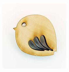 Fat robin wooden brooch by genmotley on Etsy, $11.00