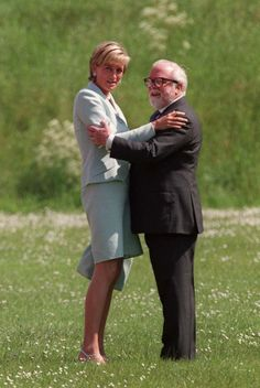 Diana, Princess of Wales, and Sir Richard Attenborough, Leicester University, May 27, 1997; the actor and Oscar winning director died at the age of 90, August 24, 2014. Sir Richard helped to coach Diana in public speaking.