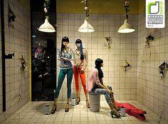 So odd I love it!   Stratdivarius display in Budapest