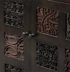 Batik tjap inserts on a cabinet from Crate & Barfle