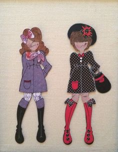 Julie Nutting Paper dolls looking Parisian. Made using doll stamps with dies