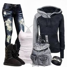 Stylish Outfit With Hoodie. Hate those kind of boots with a passion, but the rest is cute.