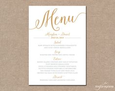 Gold Wedding Menu Card, Printable Wedding Menu // Bella Script Wedding, DIY…