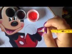 Pintura en tela cojín de corazón mickey # 2 con cony