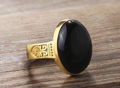 Mans Gold Ring 14k Solid Yellow Gold Black Onyx Ring 5-15 US sizes #JFM #Statement