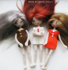 Three sisters dolls )) Crochet amigurumi dolls. Inspire. Knitting and crocheting  Три сестрички). Вязаные куколки