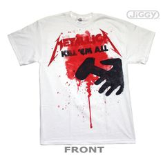 """JiGGy.Com - Metallica - Kill Em All Splatter T-Shirt Metallica t-shirt with artwork from their debut album, """"Kill Em All"""" on the front released in 1983. Printed on a white 100% cotton t-shirt."""