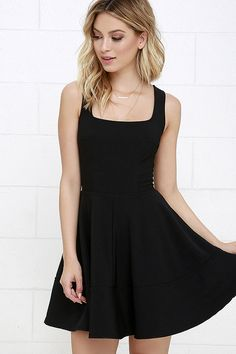 Whether you're home by curfew or keep the party going all night, the Home Before Daylight Black Dress is the perfect party companion! Knit Tank straps support a stunning bodice with a sexy square neckline, scoop back, and unique seaming in front. The fun continues with a fit and flare style, thanks to a full circle skirt. Exposed back zipper.