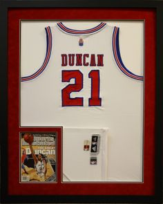 nba duncan jersey custom framed in a shadowbox created at art and frame express in edison