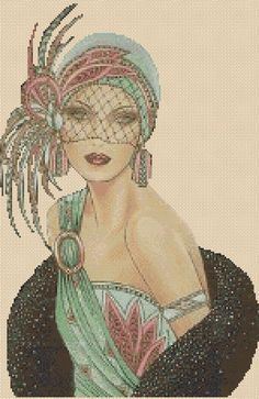 25 Ideas Art Deco Fashion Cross Stitch Charts For 2019 Éphémères Vintage, Vintage Prints, Vintage Items, Art Deco Illustration, Moda Art Deco, Art Deco Cards, Art Deco Hair, Fawn Colour, Art Deco Posters