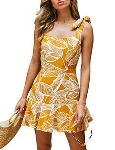 PinkyIsBlack 2018 Summer Lady Sexy Deep Square Collar Backless print Dresses Boho Style Ruffles Bow Tie Strap A-Line Beach Dress. Boho Style Dresses, Boho Dress, Casual Dresses, Summer Dresses, Clubbing Dresses, Short Mini Dress, Latest Dress, Collar Dress, Affordable Fashion