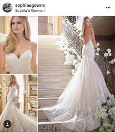 Alencon lace appliqués on tulle with wide scalloped hemline on style 2871 by Mori Lee. Available at Sophia's Gowns in Texas. Three lengths available and can be white, ivory or ivory/champagne (shown)