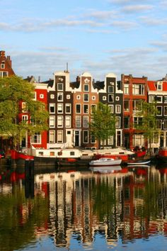 Reflection, Colorful, Building, Canal, Amsterdam