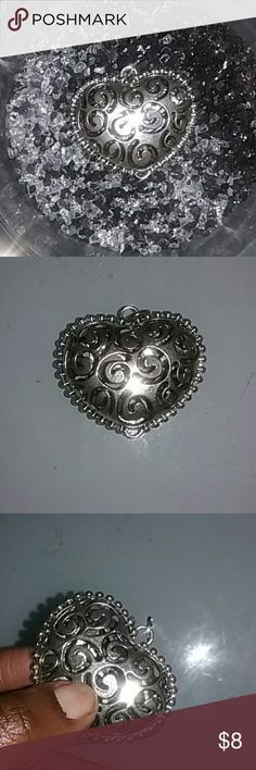 CL* 3 for 20/Heart Charm For a neclace or thin scarf. Metal silver tone. Accessories