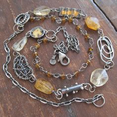 Silver Multi Strand Necklace wire wrapped Yellow Gemstone