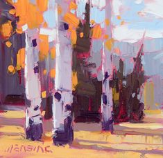 David Mensing | Fall aspen in the Sawtooth Mountains of central Idaho Oil on canvas 6 x 6