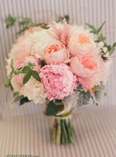 pink and peach bouquet with peonies and garden roses