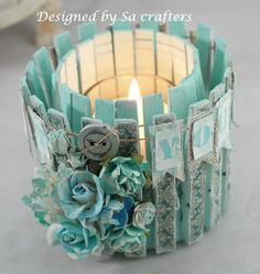 DIY Candle Made From Tin Can and Clothes Pins