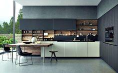 Cozinha em Branco, Cinza e Madeira