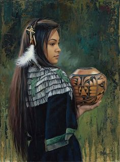 """The Treasured Gift"" -Western and Native American Fine Art by Karen Noles Native American Girls, Native American Pictures, Native American Beauty, American Indian Art, Native American History, American Indians, American Symbols, Native American Paintings, Indian Paintings"