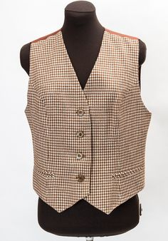 Items similar to Classic vintage brown and cream houndstooth print Garey Petites Eatons ladies vest - does medium large waist waistcoat on Etsy Man Of Honour, Houndstooth, Vest, Cream, Trending Outfits, Lady, Brown, Classic, Jackets
