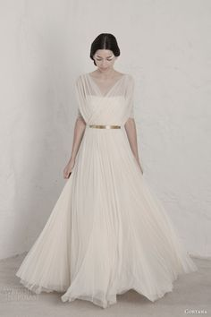cortana 2015 bridal fortunata draped wedding dress surplice bodice gold belt  #wedding #dress #bride
