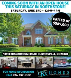 """COMING SOON WITH AN OPEN HOUSE THIS SATURDAY (6/3) IN NORTHSTONE FROM 12PM-4PM!    AT: 13811 Bramborough Road, Huntersville, NC 28078    Features: 4 Bedrooms, 3.5 Baths, 4,316 Total SF including 876 SF Garage, 3,440 Total Heated/Living SF, 717 Additional SF of Patio & Decking, 3 Car Garage + Additional Workshop Space, .44 Acres    Luxurious Full Brick, 4 Bedroom, 3 Car Garage with Workshop in """"The Reserve"""" at Northstone. Just Completed a $160,000 Renovation in April of '17. Not One Detail…"""