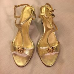 JCrew Beautiful Gold Sandals Sz 9 Jcrew. Says 9.5 but they absolutely fit like a 9. J. Crew Shoes Sandals