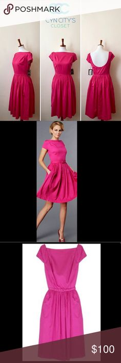 Vivienne Westwood scoop back & side pockets dress Fuchsia cotton cap sleeve dress with a detachable buckle belt at the waist. Vivienne Westwood Anglomania dress has a scoop back and side slit pockets. 100% cotton. Dry clean. For a summer look that packs a punch, wear this hot-pink Anglomania dress with contrasting accessories. Vivienne Westwood Dresses Midi