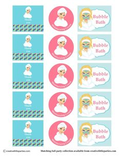 Spa party gift bag Free printable bottle labels #spaparty #printables #free #printable