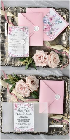 Watercolor floral wedding invitation with tracing paper and wax seal #weddinginvitations
