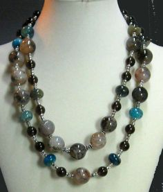 Double Strand Agate and Smokey Quartz Bead Necklace Marked down from $100.00 to $50.00 just in time for Christmas at Vp's Jewelry Boutique  Sold Alternate necklace you may like