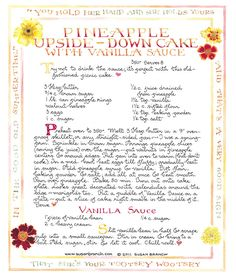 Susan Branch's Pineapple Upside-down cake with vanilla sauce yummy Old Recipes, Vintage Recipes, Cake Recipes, Cooking Recipes, Yummy Recipes, Susan Branch Blog, Picnic Cake, Pineapple Upside Down Cake, Pineapple Art