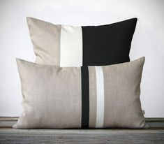 Modern Black and White Pillow Set - (12x20) Stripe and (20x20) Color Block by JillianReneDecor