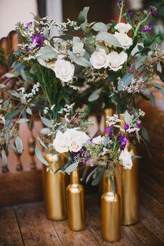 DIY gold vases from old bottles #wedding #flowers #decor