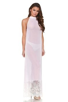 8c6fef9b9e879 Long White Sleeveless Halter Neck Nightgown with Lace Hem