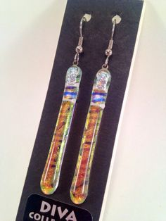 Long and skinny Fused Dichroic Glass Earrings -- Glacier Divas