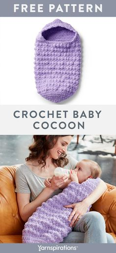 Crocheted in the round with double crochet stitches and fun bobbles, these dense. : Crocheted in the round with double crochet stitches and fun bobbles, these dense textural stitches makes this a super cozy project to wrap little ones in comfort. Crochet Baby Cocoon Pattern, Newborn Crochet Patterns, Crochet Blanket Patterns, Baby Blanket Crochet, Baby Patterns, Crochet Stitches, Crochet Bunting, Crochet Bebe, Crochet Round