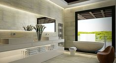 sillón precioso en el cuarto de baño lujoso