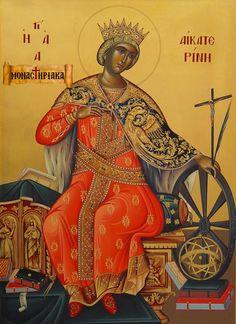 i-rena: 25 Νοεμβρίου εορτάζει η Αγία Αικατερίνη Byzantine Icons, Byzantine Art, Saint Catherine Of Alexandria, Orthodox Icons, Virgin Mary, Saints, Christian, Statue, Santa Catarina