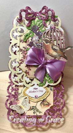 Excited to share the latest addition to my #etsy shop: Happy Mothers Day Birdcage easel card
