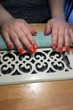 Square & orange nails, just lovely. .....by Denise