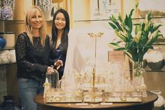 Our designer Nikki Witt and to her left Caris Pong from our marketing team Bespoke Jewellery, Display, Marketing, Bridal, Instagram, Design, Floor Space, Billboard, Bride