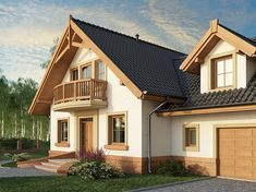 Description House with attic, intended for family.On the ground floor there is a spacious living room open to the. 20 M2, Modern Bungalow House, Loft Room, Spacious Living Room, Cozy House, Ground Floor, Interior And Exterior, House Plans, Cabin