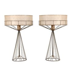 """Heart the linear wire and fiberglass shade. I may have one of this collection. Tony Paul table lamps from his """"Wires"""" collection"""